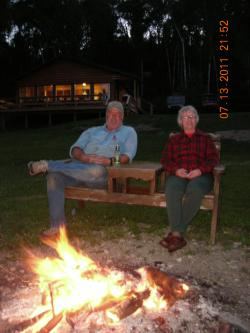 Grace and Wayne at the campfire Barker Bay Resort