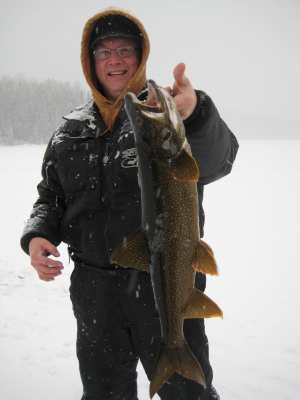 Winter Lake Trout fishing Lower Manitou Lake