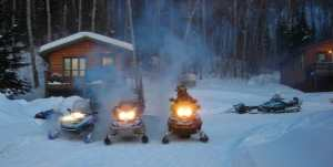 Sleds on a cool winter morning
